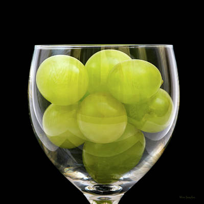 White Grapes In Glass Poster by Wim Lanclus