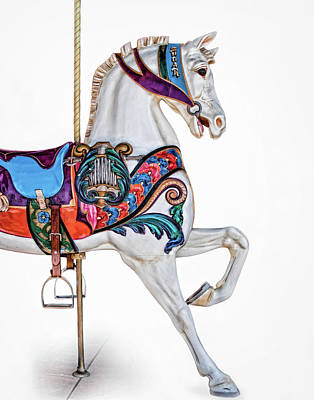 White Horse Of The Carousel Poster by David and Carol Kelly