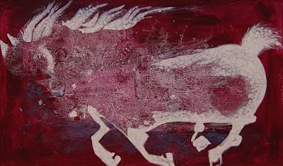 Poster featuring the painting White Horse by Sima Amid Wewetzer