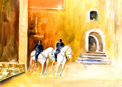 White Horses By The Cathedral In Palma De Mallorca Poster by Miki De Goodaboom