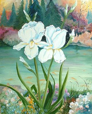 Poster featuring the painting White Iris Love by Renate Nadi Wesley