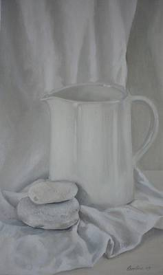 White Jug And Pebbles Poster