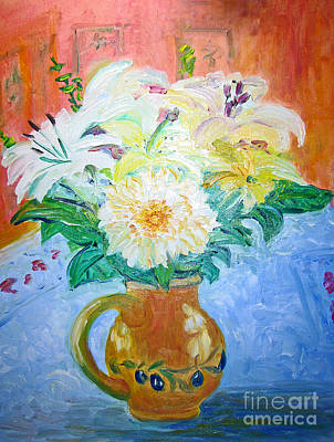 Poster featuring the painting White Lilies In Olive Jug by Barbara Anna Knauf