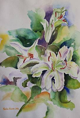 White Lilies Still Life Poster by Geeta Biswas