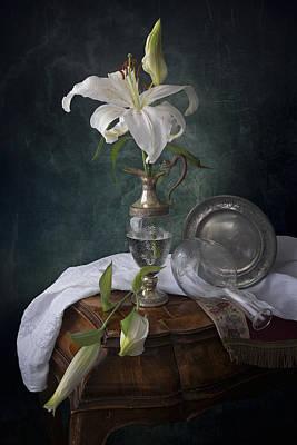 White Liliums Poster