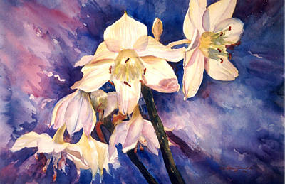 White Lillies Poster by Estela Robles