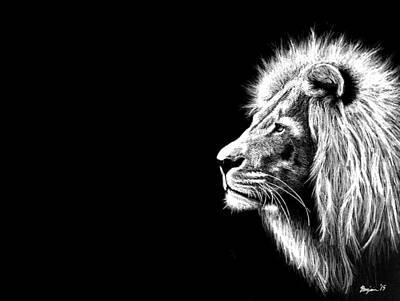 White Lion Poster by Benjamin Gassmann