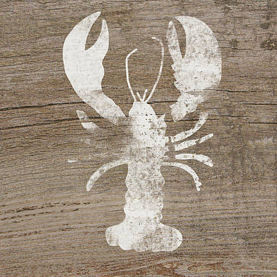 White Lobster On Wood- Art By Linda Woods Poster