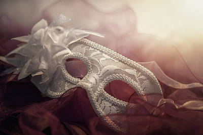 White Mask Poster by Cindy Grundsten