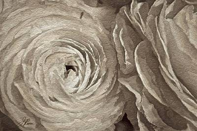 Poster featuring the painting White On White Rose by Joan Reese