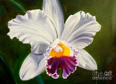 Poster featuring the painting White Orchid by Jenny Lee