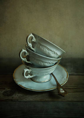 White Ornamented Teacups Poster