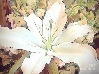White Painted Lily Poster