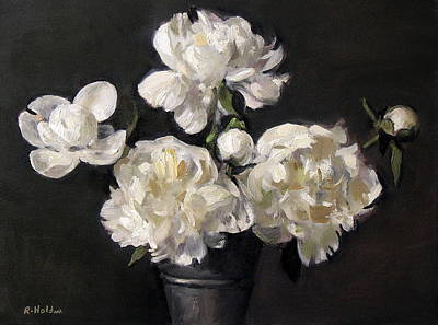 White Peonies Alone Poster