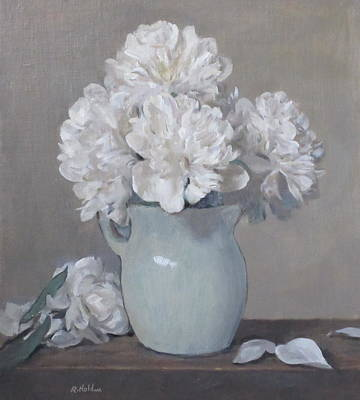 Gray Day For White Peonies Poster