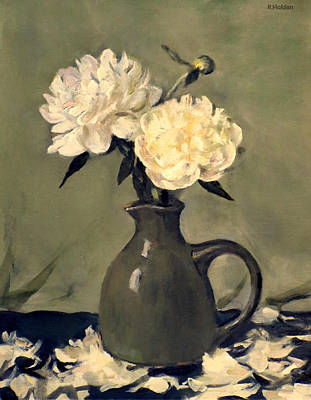 White Peonies In Small Green Pitcher Poster