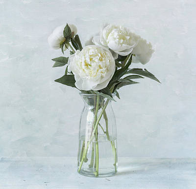 White Peony Bouquet Poster