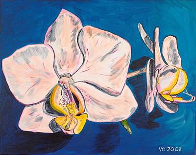 White Phalaenopsis Orchids Poster by Valerie Ornstein