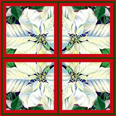 White Poinsettia Quartet Poster