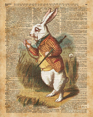 White Rabbit Alice In Wonderland Vintage Art Poster