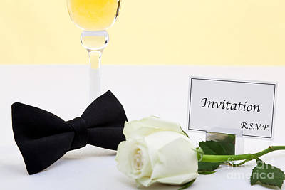 White Rose Bow Tie And Invitation. Poster