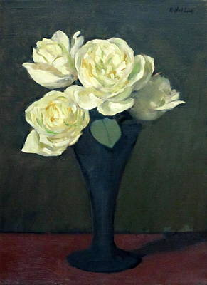 Four Off-white Roses In Trumpet Vase Poster