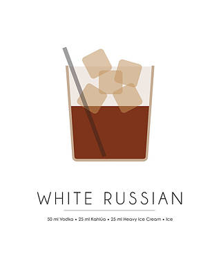 White Russian Classic Cocktail Minimalist Print Poster by Studio Grafiikka
