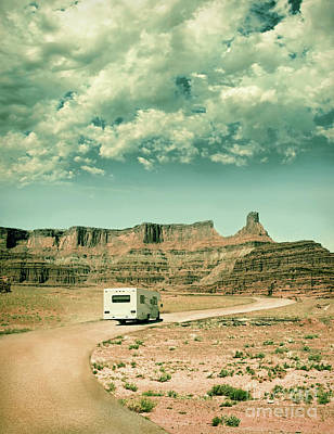 White Rv In Utah Poster by Jill Battaglia