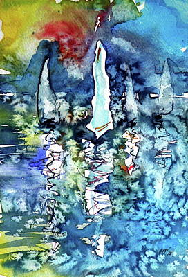 White Sailboats At Sunset Poster by Kovacs Anna Brigitta