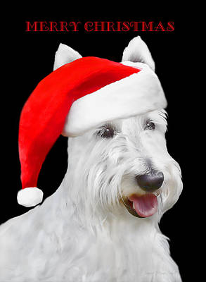 White Scottish Terrier Dog Christmas Card Poster by Jennie Marie Schell