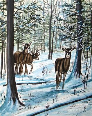 Poster featuring the painting White Tail Deer In Winter by Patricia L Davidson