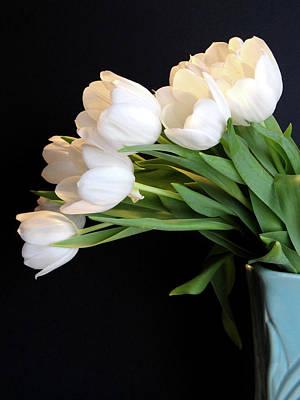 White Tulips In Blue Vase Poster