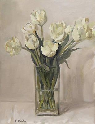 White Tulips In Rectangular Glass Vase Poster