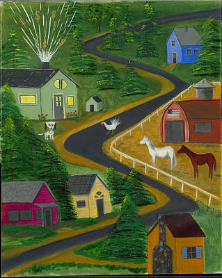 Poster featuring the painting White Turkey Day On The Road To Prosperity by Gail Finn
