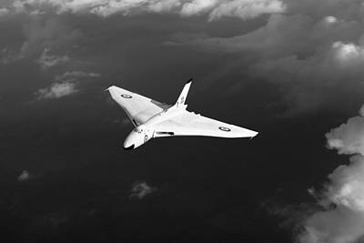 Poster featuring the digital art White Vulcan B1 At Altitude Black And White Version by Gary Eason