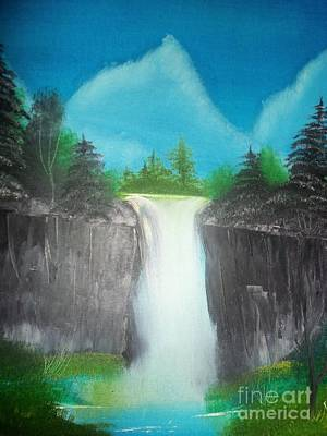 White Waterfall Poster