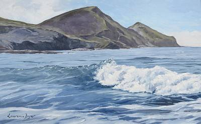 Poster featuring the painting White Wave At Crackington  by Lawrence Dyer