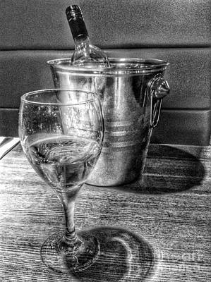 White Wine On Ice In Greyscale Poster by Joan-Violet Stretch