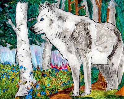 White Wolf In Spring Poster by Phil Strang