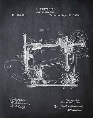 Whitehill Sewing Machine Patent 1885 Chalk Poster