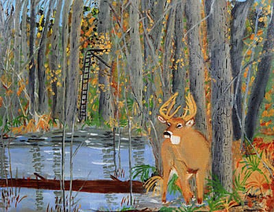 Whitetail Deer In Swamp Poster by Swabby Soileau