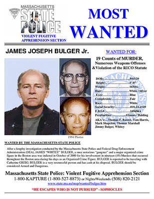 Whitey Bulger Wanted Massachusetts State Police Poster by Daniel Hagerman
