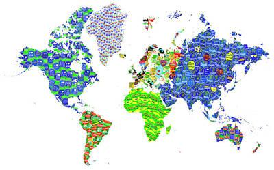 Whole World's Gone Bananas - World Map Sticker Art Poster by Rayanda Arts