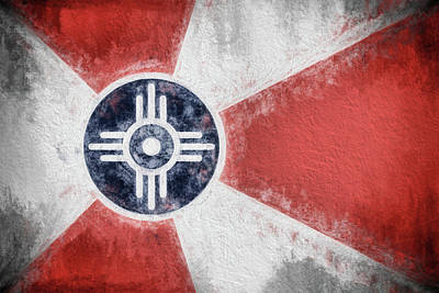 Poster featuring the digital art Wichita City Flag by JC Findley