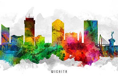 Wichita Kansas Cityscape 12 Poster by Aged Pixel