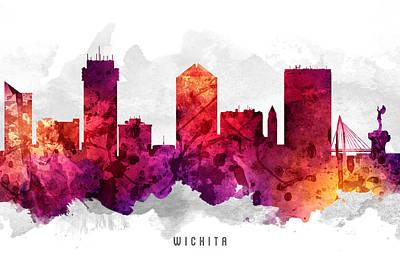 Wichita Kansas Cityscape 14 Poster by Aged Pixel