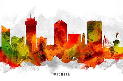 Wichita Kansas Cityscape 15 Poster by Aged Pixel