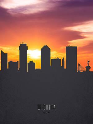 Wichita Kansas Sunset Skyline 01 Poster by Aged Pixel