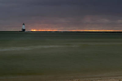 Wide View Of Lighthouse And Sunset Poster
