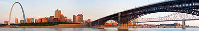 Wide View Of St Louis And Eads Bridge Poster
